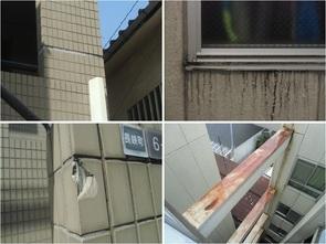 シールの劣化や壁面の汚れ・タイルの欠損、<br />鉄部の錆など経年による劣化が多く見られました。